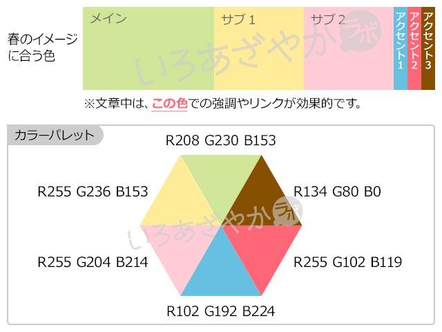 【黄緑】春を表現する配色